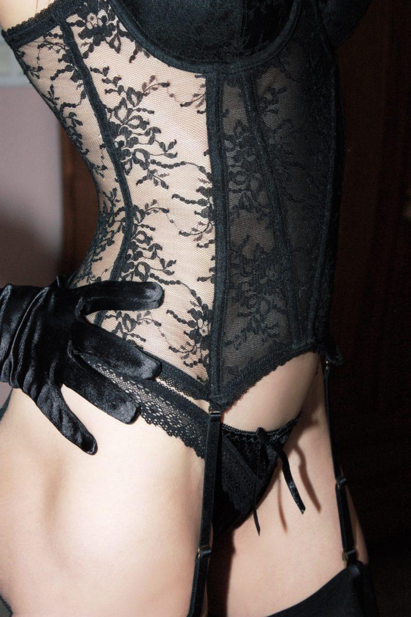Lace corset thong